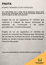 Pauta da Reunião Ordinária do dia 04/08/2020