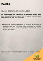 Pauta da Reunião Ordinária do dia 05/10/2020