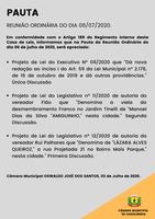 Pauta da Reunião Ordinária do dia 06/07/2020