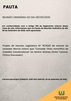 Pauta da Reunião Ordinária do dia 08/09/2020