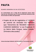 Pauta da Reunião Ordinária do dia 20/10/2020