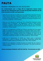 Pauta da Reunião Ordinária do dia 22/02/2021