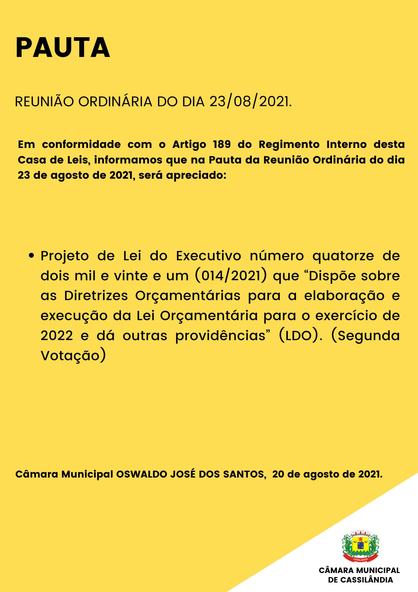 Pauta da Reunião Ordinária do dia 23/08/2021