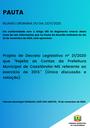 Pauta da Reunião Ordinária do dia 23/11/2020
