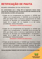 Retificação de Pauta da Reunião Ordinária do dia 28/09/2020