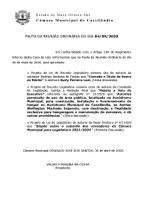 Pauta da Sessão Ordinária do dia 04/05/2020