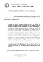 Pauta da Sessão Ordinária do dia 10/02/2020